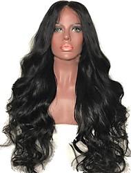 olcso -Szűz haj Kémiai anyagoktól mentes / nyers Csipke eleje Paróka Réteges frizura stílus Brazil haj Hullámos haj Fekete Paróka 150% Haj denzitás baba hajjal Természetes hajszálvonal Fekete hölgyeknek A