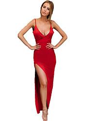 Недорогие -Жен. Уличный стиль Оболочка Платье - Однотонный На бретелях Макси / Сексуальные платья