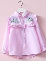 Χαμηλού Κόστους -Παιδιά / Νήπιο Κοριτσίστικα Ενεργό / Βασικό Ριγέ / Φλοράλ Μακρυμάνικο Πολυεστέρας Μπλούζα Ανθισμένο Ροζ