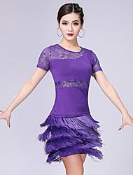 Χαμηλού Κόστους -Λάτιν Χοροί Σύνολα Γυναικεία Επίδοση Mohair Δαντέλα / Φούντα Κοντομάνικο Χαμηλή Μέση Φούστες / Κορυφή