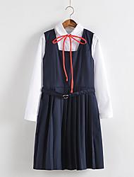 abordables -Estudiante / Uniforme de escuela Disfrace de Cosplay Mujer Chica Adulto Escuela secundaria Para Rendimiento Algodón Un Color Camisas Vestido Navidad Halloween Carnaval