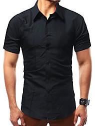 ieftine -bărbați asiatice dimensiune bumbac subțire cămașă - solid guler de culoare tricou