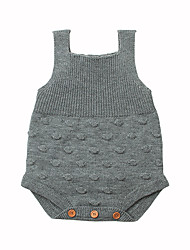 hesapli -Bebek Genç Kız Actif Günlük Siyah ve Beyaz Solid Benekli Kumaşlar Kolsuz Akrilik bodysuit Beyaz