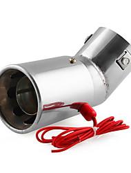 Недорогие -универсальный автомобиль из нержавеющей стали светодиодный выхлопной глушитель наконечник трубы красный свет пылающий хвост глушитель 30-63 мм