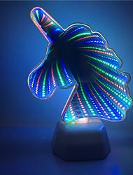 Недорогие -1x 3d туннель в форме единорога красочный эффект освещения ночная лампа с батарейным питанием домашнего декора светодиодное освещениеa0006