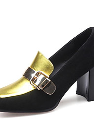 cheap -Women's Nappa Leather Spring Classic / Casual Heels Chunky Heel Square Toe Buckle Gold / Color Block