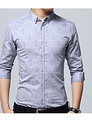 Недорогие -Муж. Офис Большие размеры - Рубашка Хлопок Тонкие Контрастных цветов / Длинный рукав