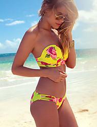 זול -M L XL פרחוני, בגדי ים טנקיני נועזת צהוב בגדי ריקוד נשים