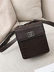 preiswerte -Damen Taschen PU Umhängetasche Reißverschluss Schwarz / Braun