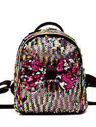 Недорогие -PU Пайетки рюкзак Повседневные Черный / Розовый / Цвет радуги