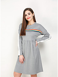 hesapli -Kadın's Büyük Bedenler Dışarı Çıkma Vintage Sokak Şıklığı A Şekilli Tişört Elbise - Zıt Renkli Gökküşağı Diz-boyu