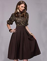 Χαμηλού Κόστους -Γυναικεία Βασικό Θήκη Φόρεμα - Μονόχρωμο / Γεωμετρικό Μίντι