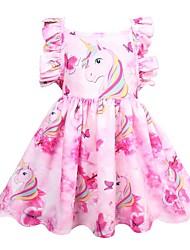 billige -Barn Jente søt stil Ut på byen Regnbue Ermeløs Knelang Polyester Kjole Rosa