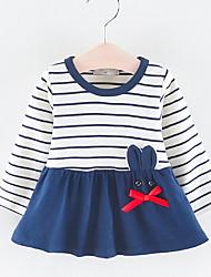 billige -Baby Jente Aktiv Stripet Trykt mønster Langermet Polyester Kjole Rosa