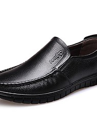 cheap -Men's Comfort Shoes Leather Spring Loafers & Slip-Ons Black / Brown