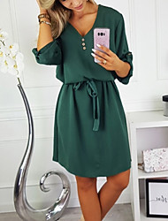cheap -Women's Daily Going out Street chic Elegant T Shirt Dress - Solid Colored Lace up High Waist Deep V Spring Green Navy Blue Gray M L XL / Sexy
