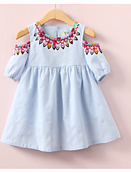 billige -Baby Jente Aktiv Daglig Ensfarget / Geometrisk Kortermet Ovenfor knéet Polyester Kjole Rosa