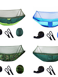 Недорогие -Кемпинговый гамак с противомоскитной сеткой Двойной гамак На открытом воздухе Легкость Защита от комаров Быстровысыхающий Нейлон для 2 человека Рыбалка Походы / Pop Up Design
