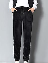 זול -בגדי ריקוד נשים סגנון רחוב חיתוך נעל מכנסיים אחיד / פסים