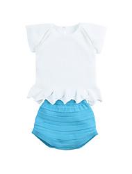 זול -סט של בגדים שרוולים קצרים אחיד / סרוג כחול ולבן בנות תִינוֹק