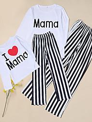 Недорогие -Взрослые Дети Мама и я Классический Повседневные Однотонный Буквы Длинный рукав Длинный Набор одежды Белый