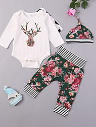 abordables -bébé Fille Actif / Basique Quotidien / Sortie Couleur Pleine Imprimé Manches Longues Longue Coton / Spandex Ensemble de Vêtements Blanc