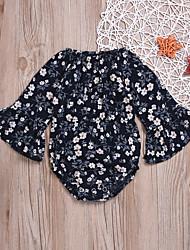 billige -Baby Jente Aktiv / Bohem Daglig Blomstret Vintage Stil / Blomster Langermet Polyester Body Regnbue