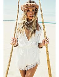 Χαμηλού Κόστους -Γυναικεία Παραλία Κομψό στυλ street Λευκό Ολόσωμα, Μονόχρωμο Flare μανίκι M L XL 3/4 Μήκος Μανικιού