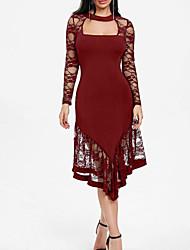 Недорогие -Жен. Большие размеры Для вечеринок Классический Тонкие Оболочка Платье - Однотонный, Кружева Средней длины