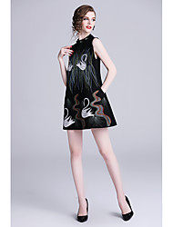 cheap -A-Line Jewel Neck Short / Mini Jersey Dress with Embroidery by LAN TING Express