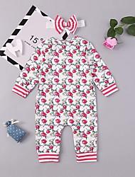 abordables -bébé Fille Actif / Basique Quotidien / Sortie Imprimé Style floral Manches Longues Coton / Spandex Une-Pièce Blanc
