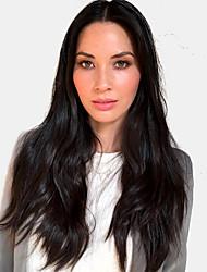 Χαμηλού Κόστους -Ανθρώπινες περούκες περούκες μαλλιών Φυσικά μαλλιά Φυσικό ευθεία Μέσο μέρος Μοδάτο Σχέδιο / Νεό Σχέδιο / Άνετο Μαύρο Μακρύ Χωρίς κάλυμμα Περούκα Γυναικεία / Φυσική γραμμή των μαλλιών
