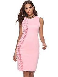 tanie -Damskie Elegancja Pochwa Sukienka - Solidne kolory, Falbana Nad kolano