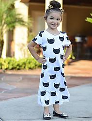 baratos -Infantil / Bébé Para Meninas Activo / Básico Animal / Desenho Animado Fenda / Estampado Manga Curta Médio Algodão / Poliéster Vestido Branco