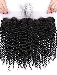 tanie -1 Pakiet Włosy brazylijskie Kinky Curl Włosy virgin Akcesoria do peruk Taśma włosów z zamknięciem 8-20 in Kolor naturalny Ludzkie włosy wyplata Kreatywne Przeciwe stresowi i niepokojom Nowości