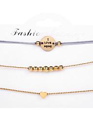 tanie -3 szt. Damskie Wielowarstwowy Zestaw bransoletek Elegancki Modny Bransoletki Biżuteria Złoty Na Prezent Ulica