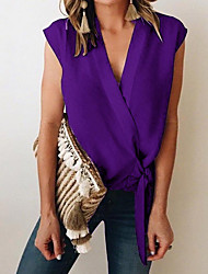 halpa -naisten eu / us-kokoinen ohut paita - vankka värillinen v-kaula