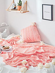 Χαμηλού Κόστους -Πολύ λειτουργικές κουβέρτες, Μονόχρωμο Βαμβάκι Φούντα Comfy Εξαιρετικά μαλακό κουβέρτες