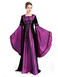 billige -Queen Cosplay Kostumer Voksne Dame Vintage Halloween Festival / høytid Polyester Lilla Karneval Kostumer Lapper