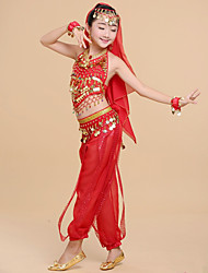 Недорогие -Индийская девушка Болливуд Детские Девочки азиатский Пайетки Костюм танца живота Назначение Halloween Выступление фестиваль Шифон Пайетки Кофты Брюки Головные уборы