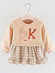 levne -Dítě Dívčí Základní Tisk Dlouhý rukáv Nad kolena Polyester Šaty Světlá růžová