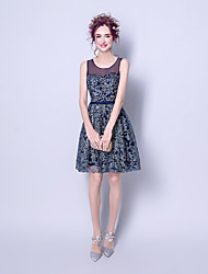 cheap -A-Line Jewel Neck Above Knee Chiffon Bridesmaid Dress with Appliques by LAN TING Express