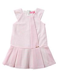 お買い得  -子供 女の子 活発的 / かわいいスタイル ソリッド プリーツ ノースリーブ 膝上 コットン / ポリエステル ドレス ピンク