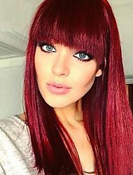 billige -Syntetiske parykker Naturlig rett Rød Bobfrisyre / Med lugg Burgunder Syntetisk hår 14 tommers Dame ny Rød Parykk Medium Lengde Lokkløs