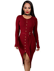 저렴한 -여성용 스트리트 쉬크 바디콘 드레스 - 솔리드 미디