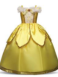 baratos -Princesa Comprimento Longo Vestido para Meninas das Flores - Poliéster / Renda Manga Curta Com Alças Finas com Renda / Camada / Cristal / Strass de LAN TING Express