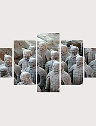 levne -Grafika Válcované plátno Reprodukce maleb na plátně - Slavné Historie Současný styl Moderní Pět panelů