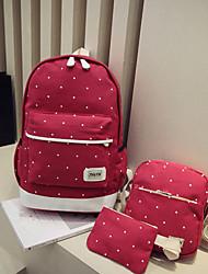 hesapli -Kadın's Çantalar Tuval Çanta Setleri 3 Adet Çanta Seti için Günlük YAKUT / Koyu Mavi / Fuşya