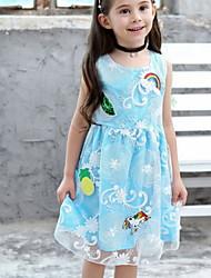 Χαμηλού Κόστους -Παιδιά Κοριτσίστικα Φλοράλ Φόρεμα Θαλασσί