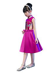 Недорогие -Детские Девочки В китайском стиле Оса-Waisted Cheongsam Назначение Помолвка Девичник Шелк До колена Платье